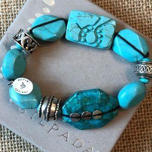 Silpada Chunky Turquoise Bead Stretch Bracelet 925